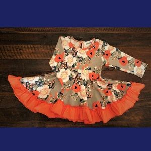Brand new LivelyPop brand gray coral floral dress